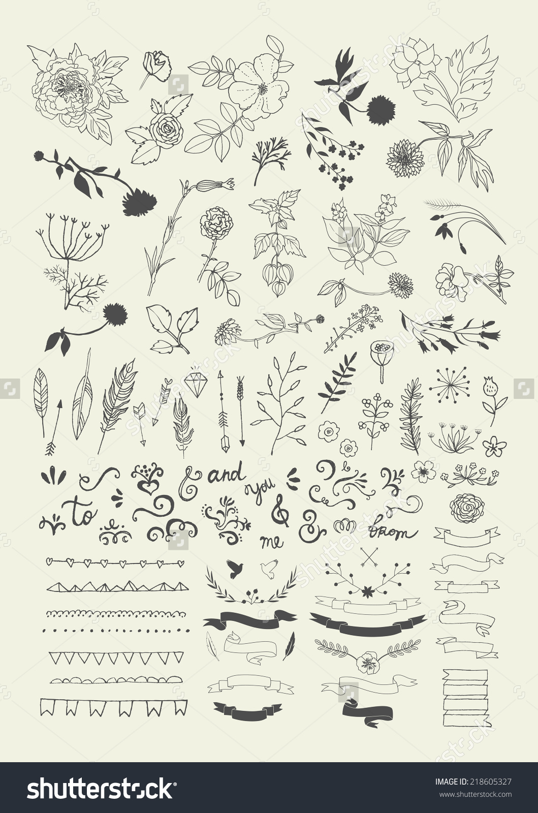 1059x1600 Hand Drawn Vintage Floral Elements. Swirls, Laurels, Frames