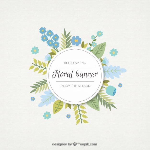 626x626 Hand Drawn Blue Flowers And Leaves Floral Banner Vector Free