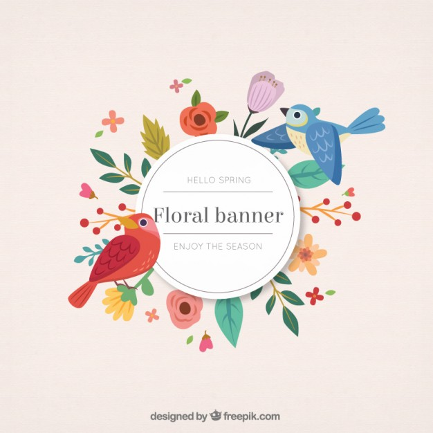 626x626 Hand Drawn Cute Birds With Floral Banner Vector Premium Download