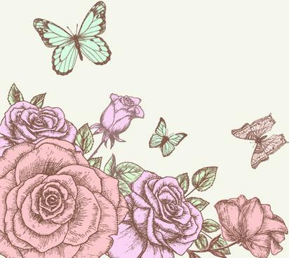 412x368 Retro Hand Drawn Flower Banner Vector Graphic Free Vector In Adobe