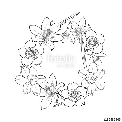 500x500 Round Frame Of Spring Flowers, Decoration Element, Sketch Vector