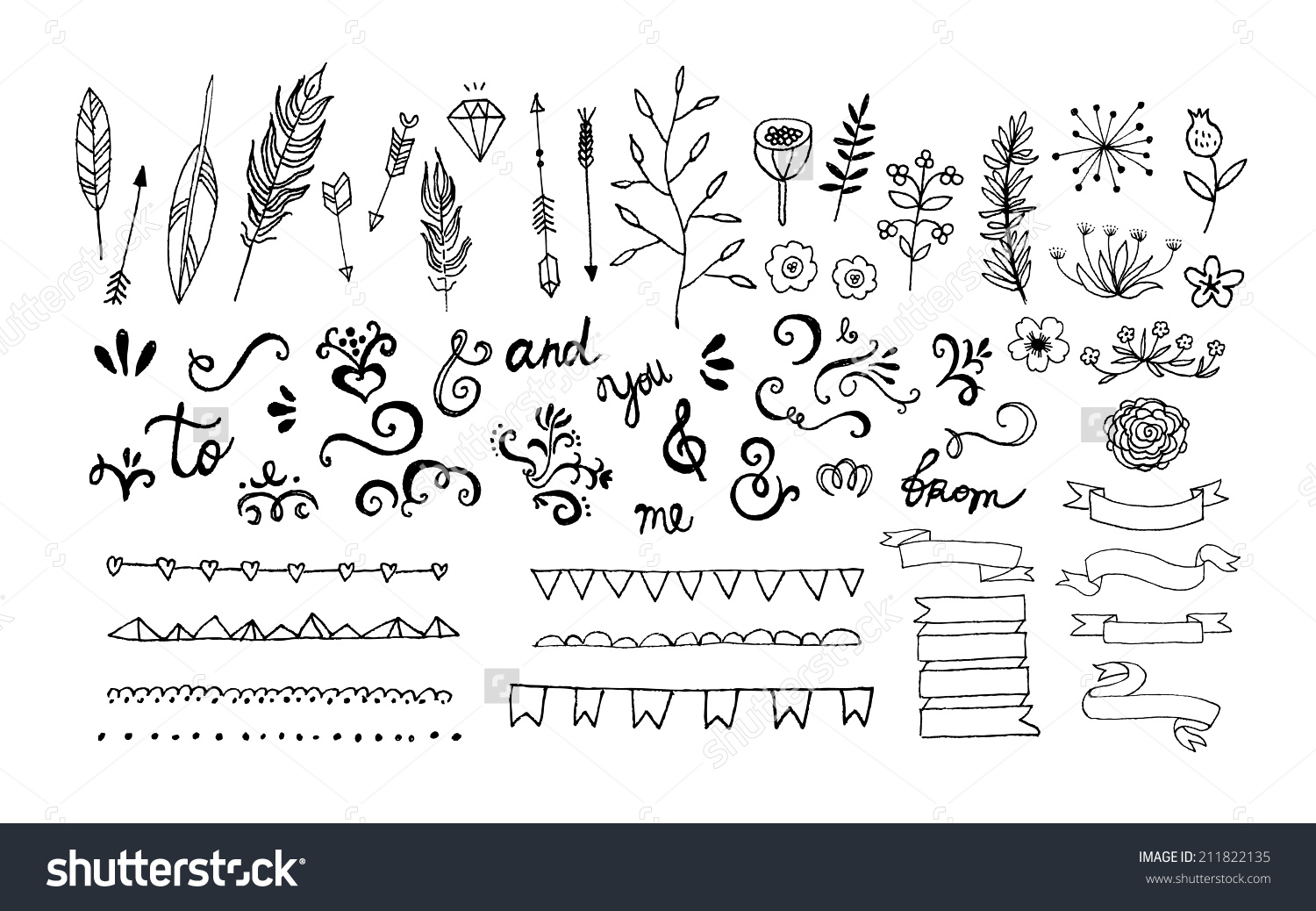 1500x1038 Stock Vector Hand Drawn Vintage Floral Elements Swirls Arrows