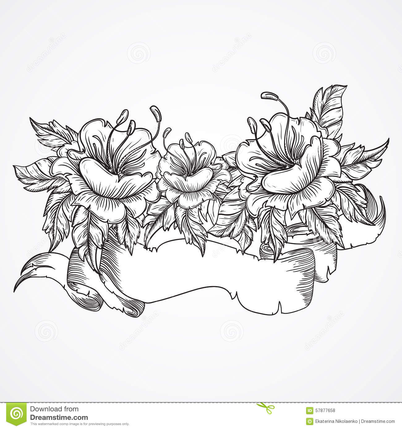 1300x1390 Vintage Floral Highly Detailed Hand Drawn Bouquet Flowers Ribbon
