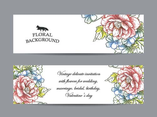 500x375 Flower Banners Hand Drawing Vector Design 01