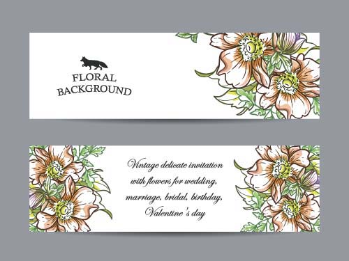 500x375 Flower Banners Hand Drawing Vector Design 02