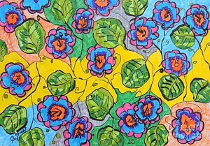 300x209 Flower Bed Drawings Fine Art America