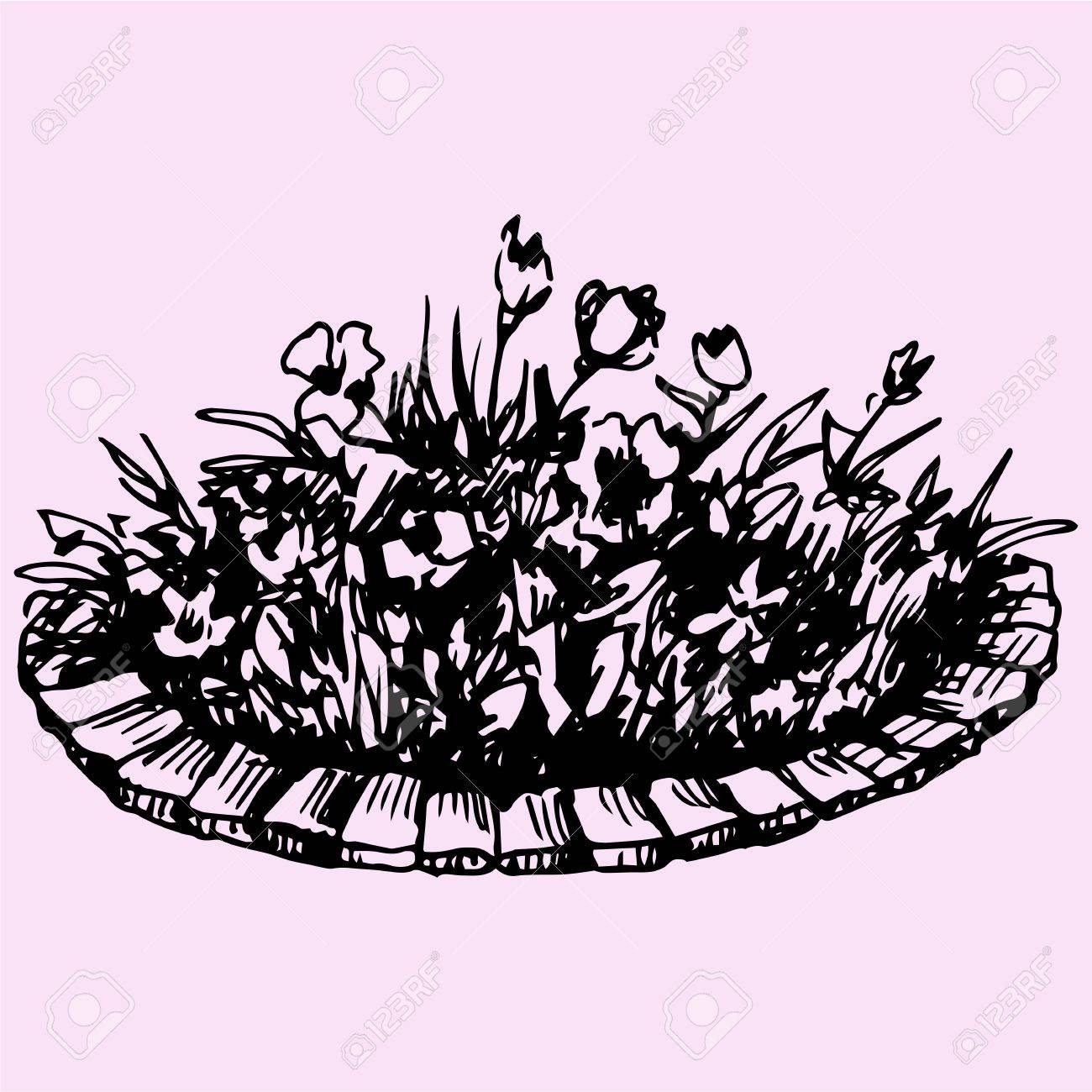 1300x1300 Flowers In Flowerbed Doodle Style Sketch Illustration Hand Drawn