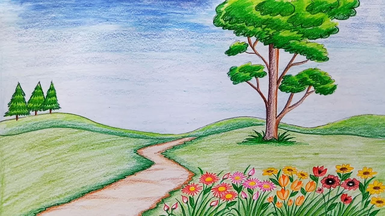 1280x720 How To Draw Scenery Of Flower Garden Step By Step (Very Easy