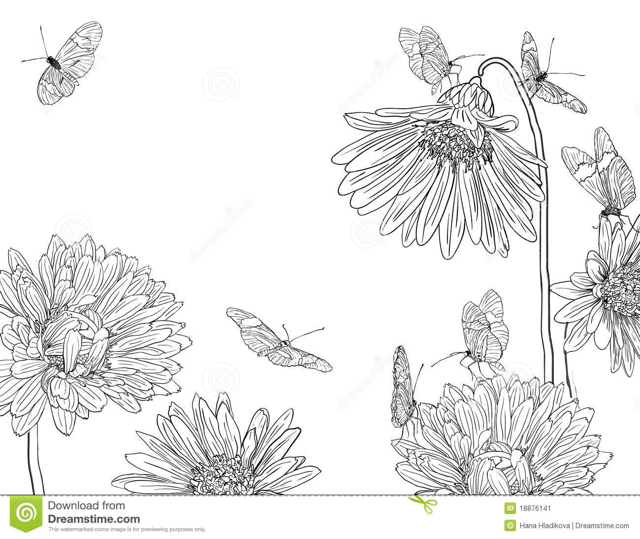 1300x1095 How To Draw A Butterfly Garden Hand Drawn Garden Sketch