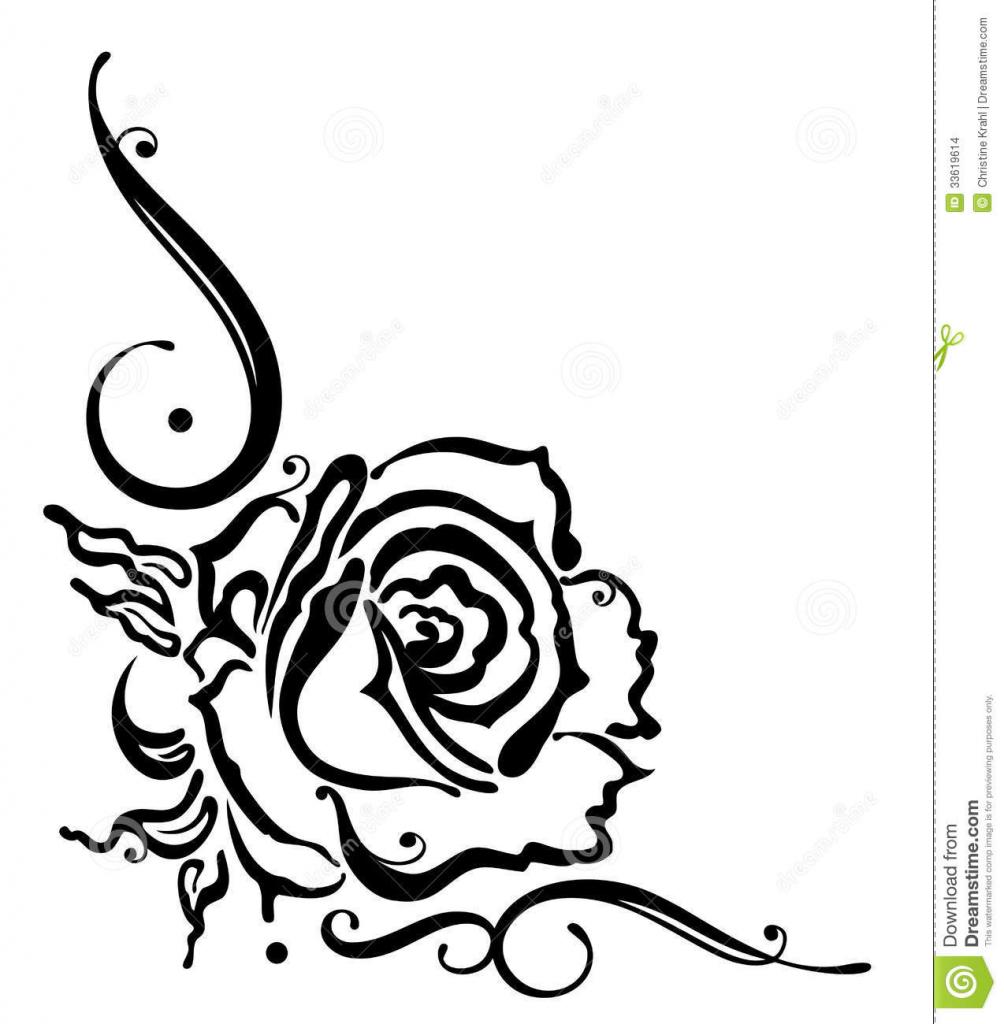 1004x1024 Flower Border Drawing Rose, Flower, Border Stock Images