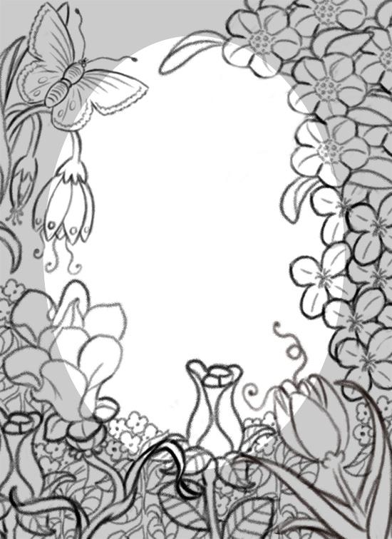 550x756 Flower Border Line Drawing Palacio Illustration