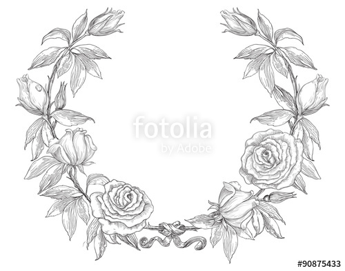 500x393 Roses Wreath. Rose Flower Wreath. Vector Floral Circle Border