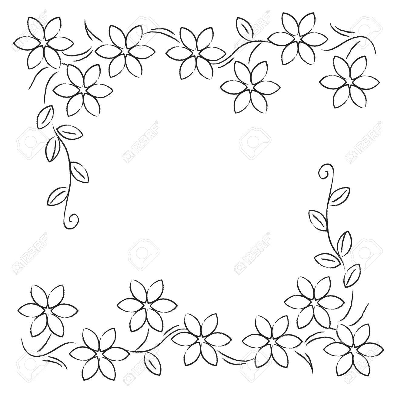 Flower Frame Line Drawing : Flower border drawing at getdrawings free for