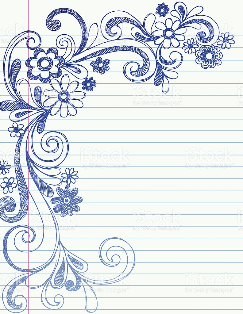 792x1024 Border Drawing Flowers Drawn Design Flower Border