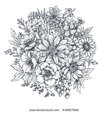 450x470 flower bouquets drawings