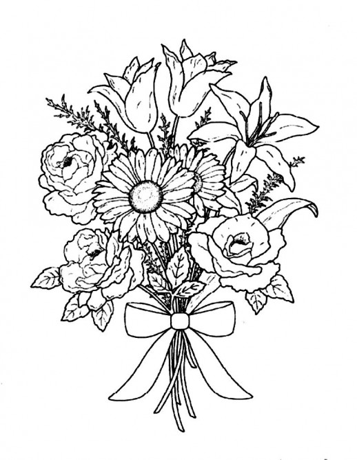 518x667 Flower Bouquet For Special Occasion Coloring Pages Adult