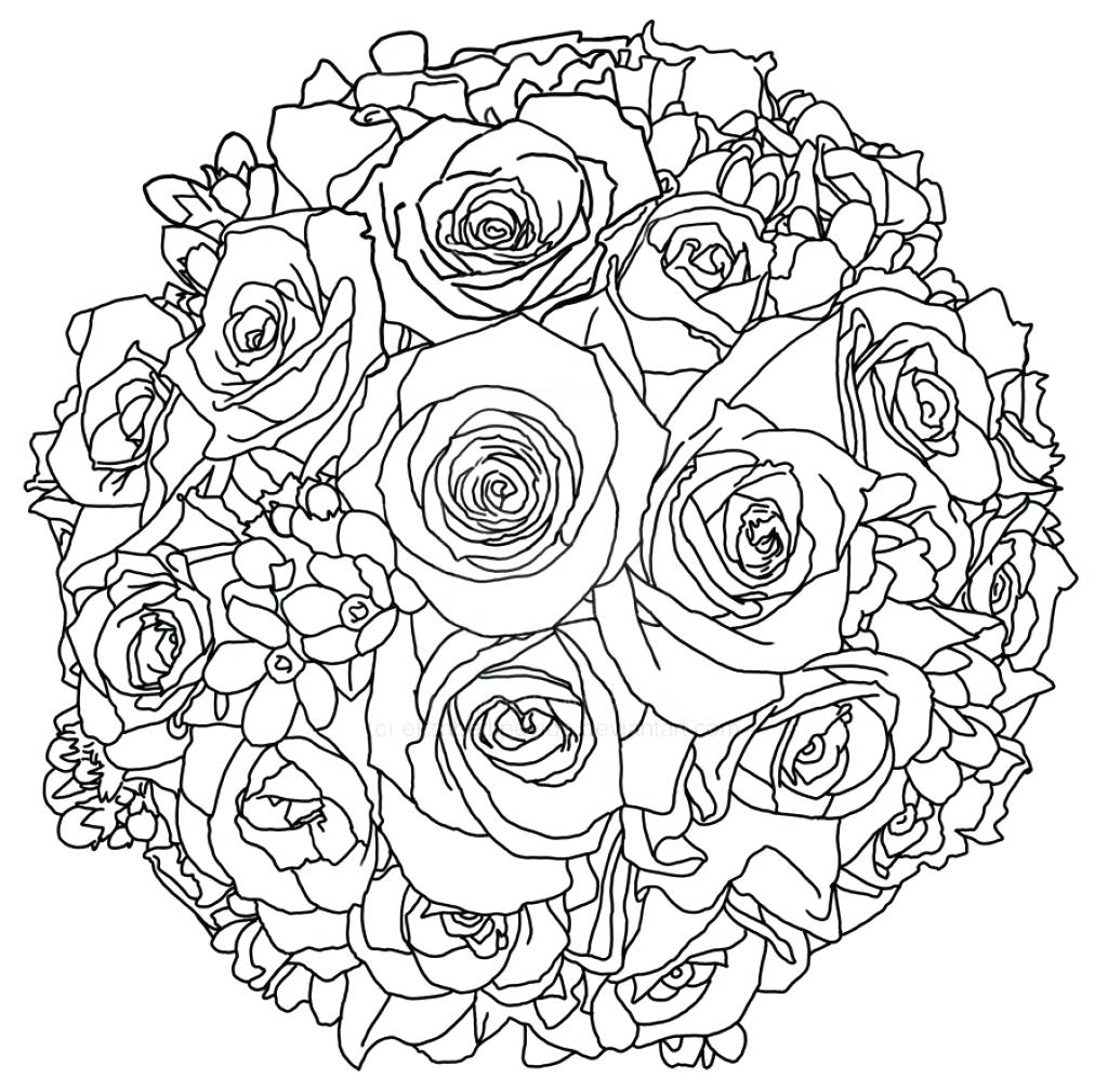 1024x1010 Coloring Flower Bouquets Coloring Pages Bouquet Of Drawing Simple
