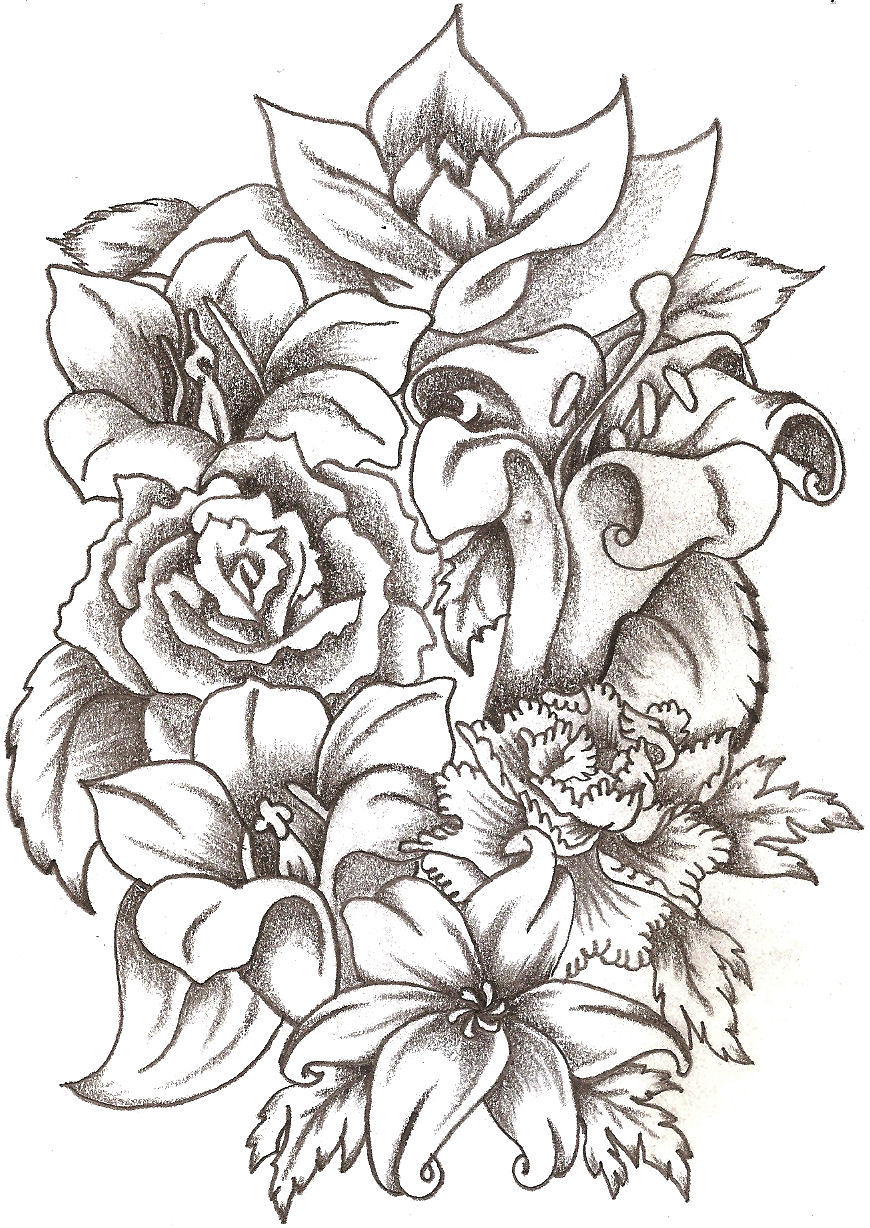 870x1228 Bunch Of Flowers Drawing