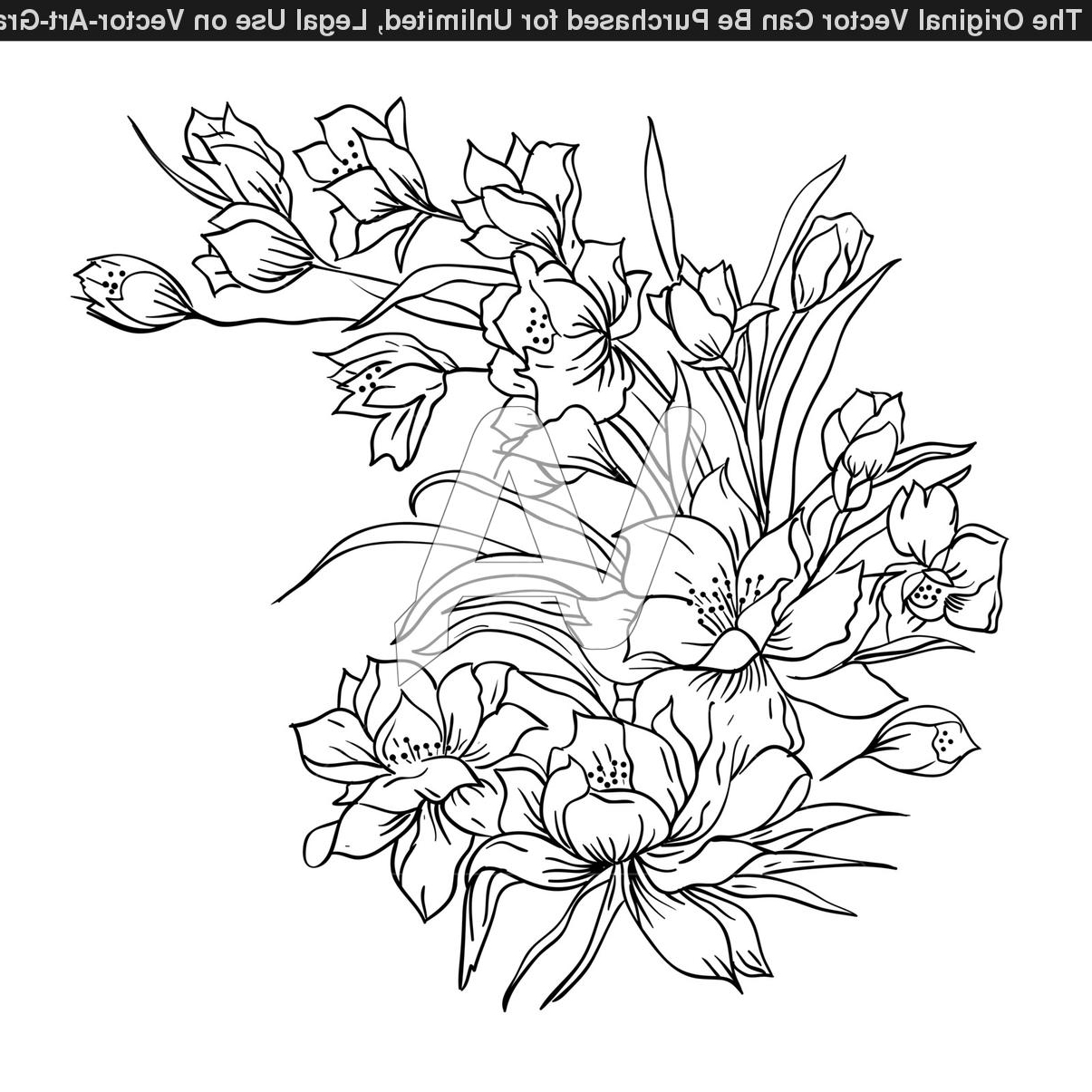 Flower Bunch Drawing