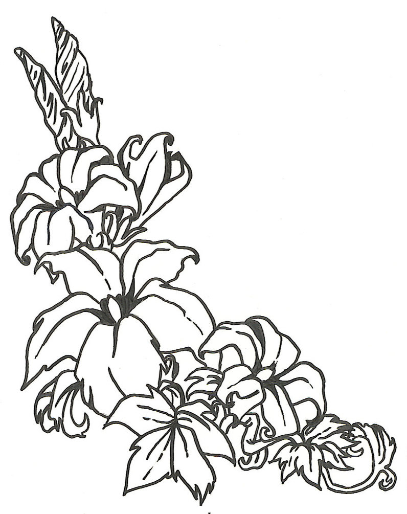 796x1005 Line Art Flowers Group