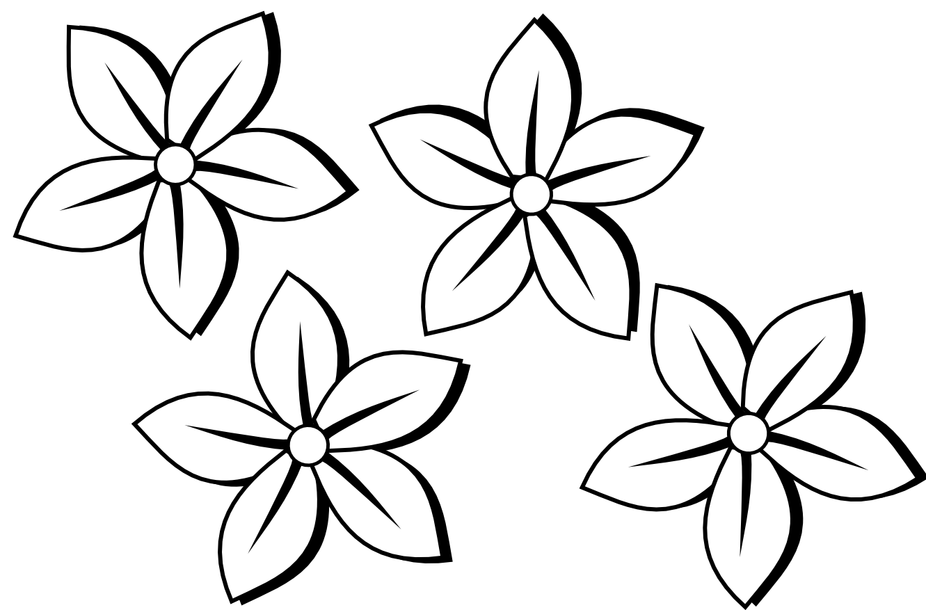 1331x877 Four Flowers Flora 80 Black White Line Art Tattoo