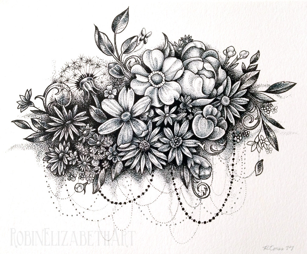 1008x835 Dotwork Flower Cloud Pen And Ink Stippling Drawing