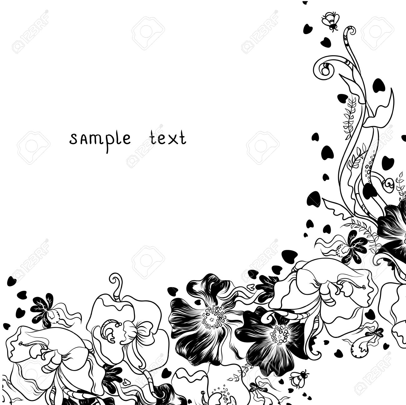 1300x1298 Flowers Decoration Image Drawings Flowers Silhouette Royalty Free