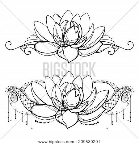 450x470 Vector Drawing Outline Lotus Vector Amp Photo Bigstock