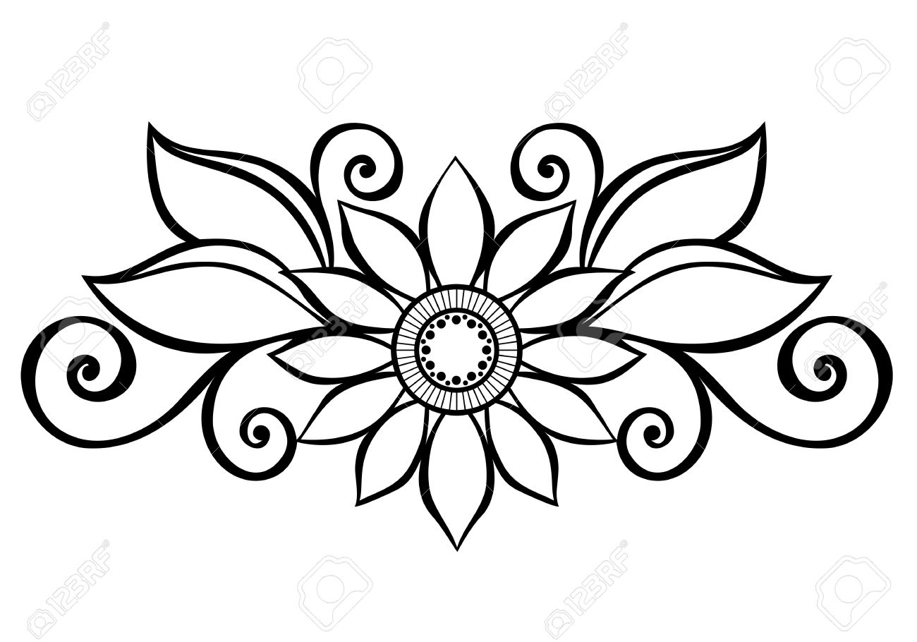 Simple Decorative Line Art : Flower decoration drawing at getdrawings free for