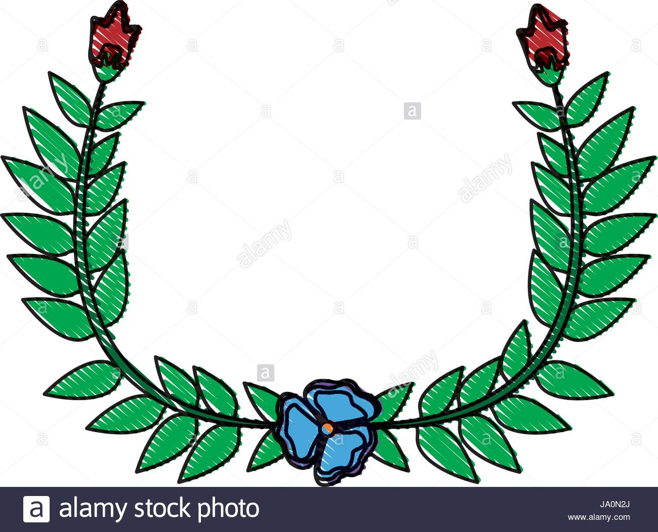 1300x1050 Drawing Crown Half Flower Natural Decoration Laurel Leaves Stock