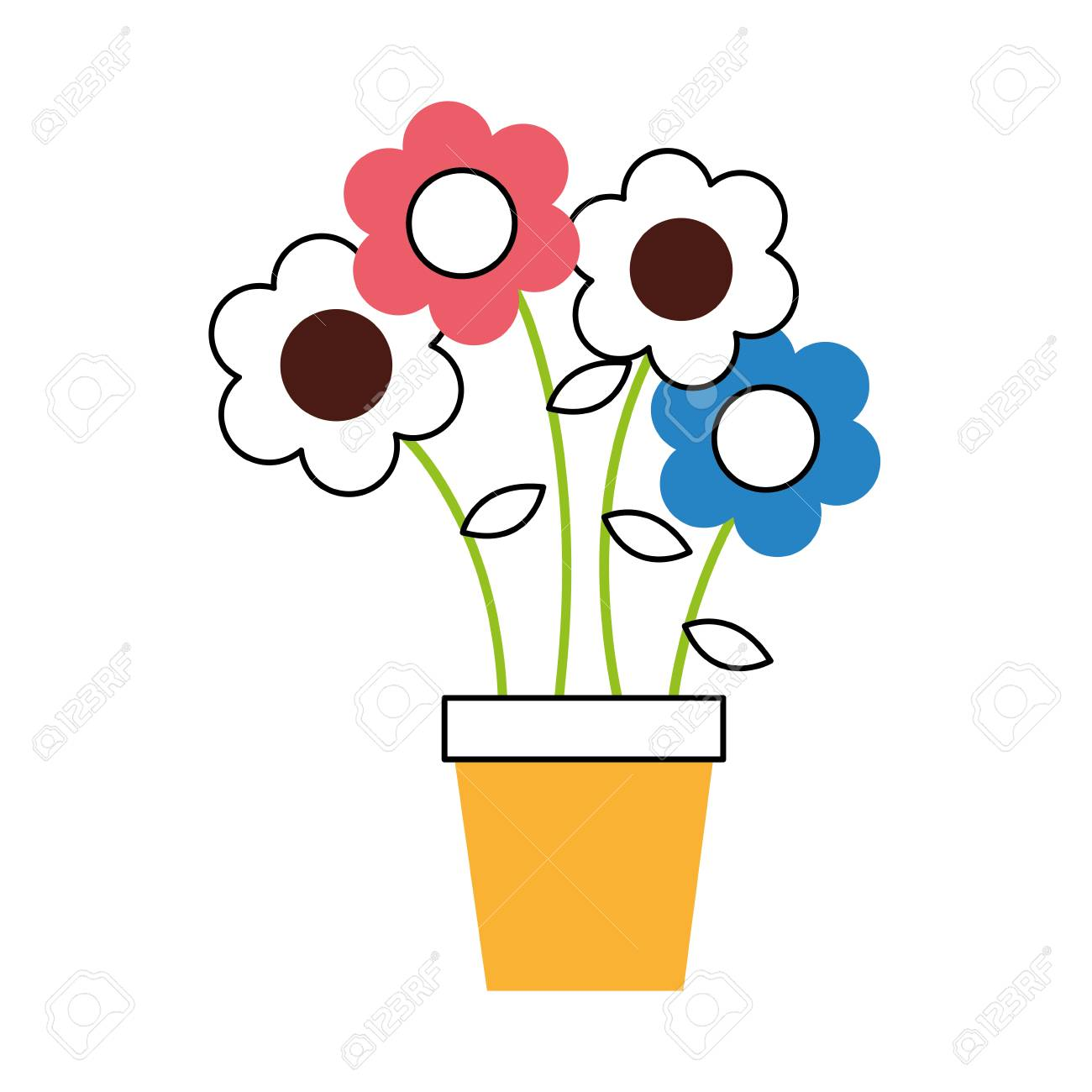 1300x1300 Cute Flower In Pot Drawing Decorative Vector Illustration Design
