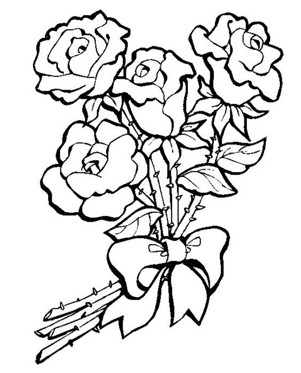 612x758 Coloring Pages Of Flowers Games A Bunch Roses