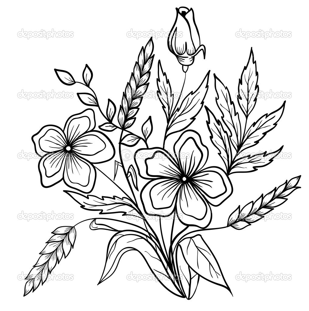 1016x1023 Arrangement Of Flowers Black And White. Outline Drawing Of Lines