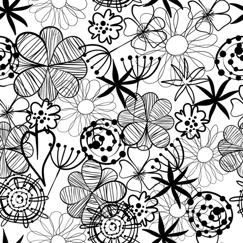 500x500 Doodle Flowers Hand Drawing Vector Pattern 05