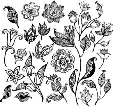 388x368 Illustrator Black White Flower Pattern Free Vector Download