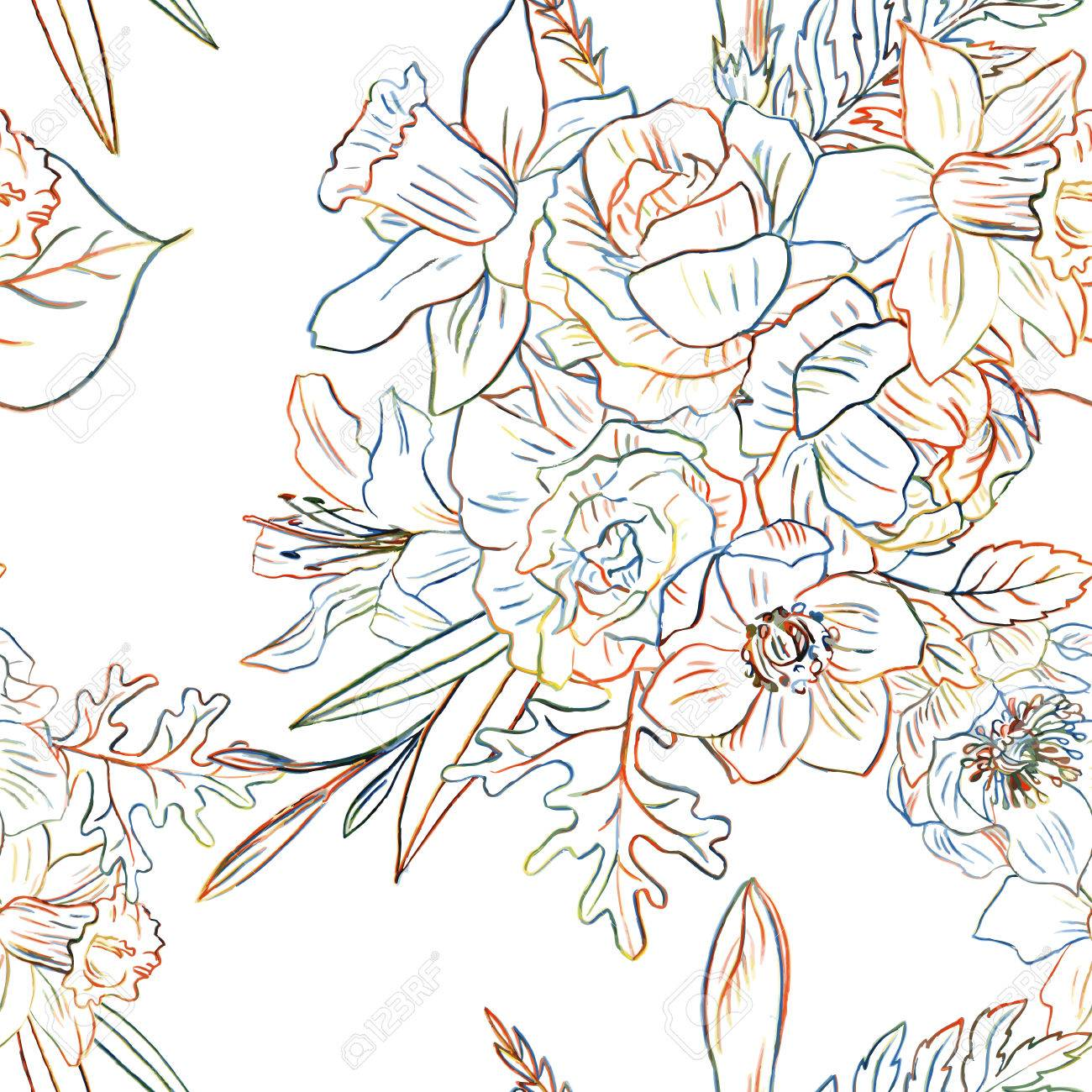 1300x1300 Line Drawing Floral Seamless Pattern With Colorful Doodle Flower