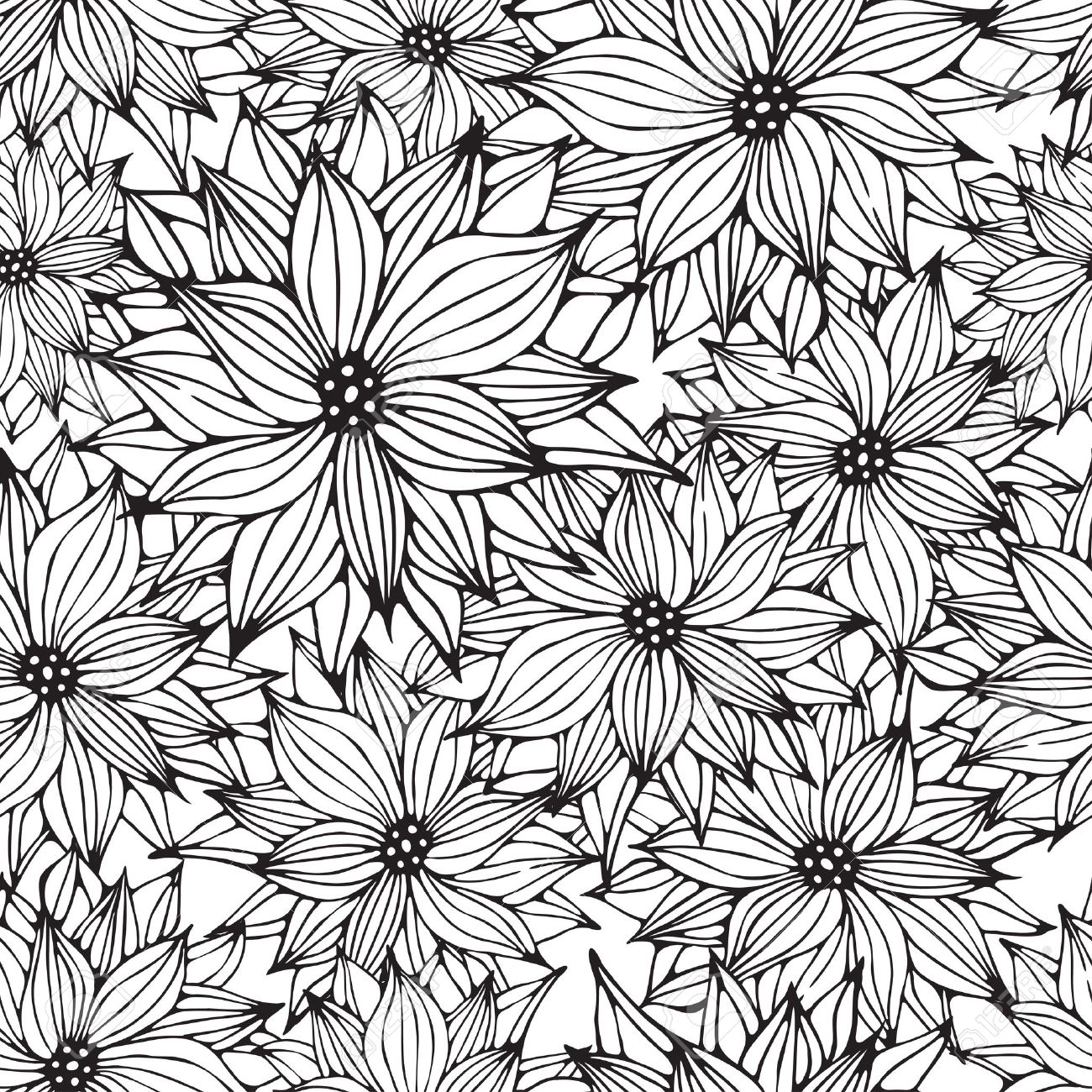 1300x1300 Seamless Floral White Black Background, Flower Hand Drawn Pattern