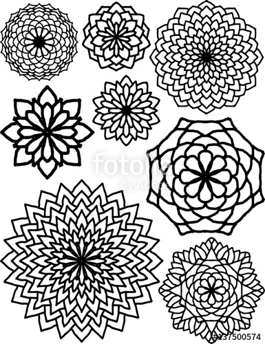 385x500 Abstract Flower Patterns Drawings. Black And White Illustrations