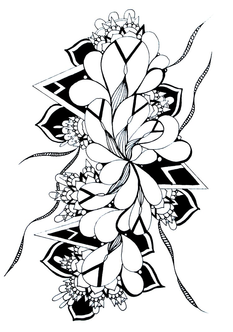 749x1066 Abstract Drawing Ink Tattoo Pattern Flower Zentang By Curious Ruby