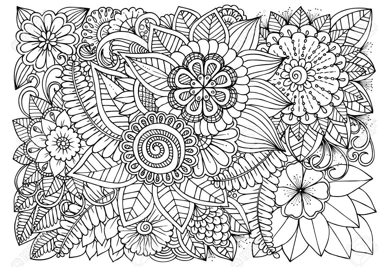1300x893 Black And White Flower Pattern For Coloring. Doodle Floral Drawing