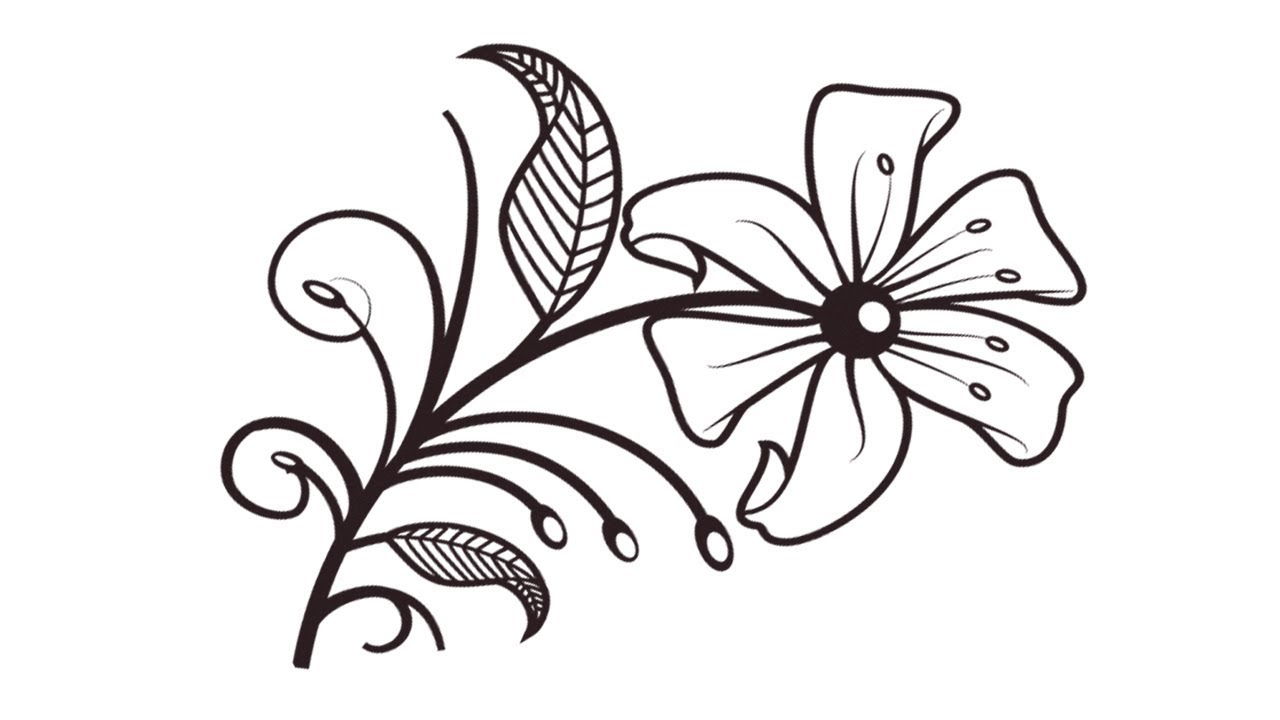 1280x720 Coloring Pages How To Draw Flower Step By Step How To Draw