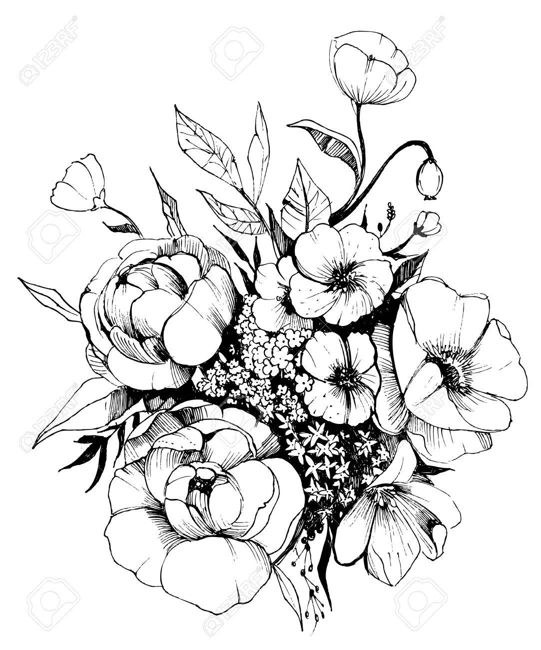 Flower drawing vector at getdrawings free for personal use 1083x1300 flowers bouquet vector sketch royalty free cliparts vectors izmirmasajfo