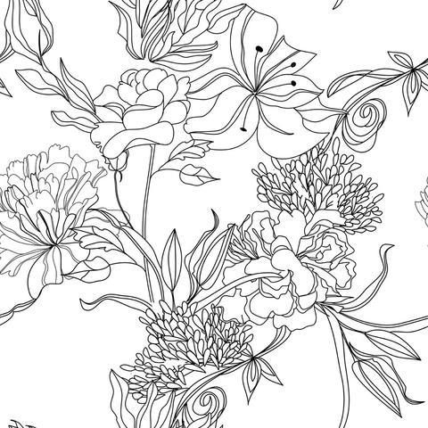 480x480 Sketch Floral Removable Wallpaper Wallsneedlove