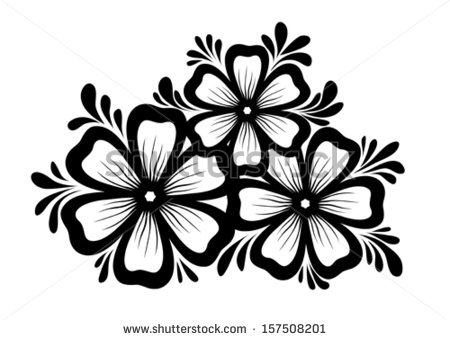 450x340 Beautiful Floral Element. Black And White Flowers And Leaves