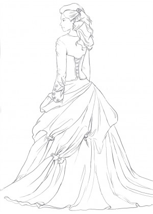 300x420 Princess Full Length Ivory Satin Organza Flower Girl Dress