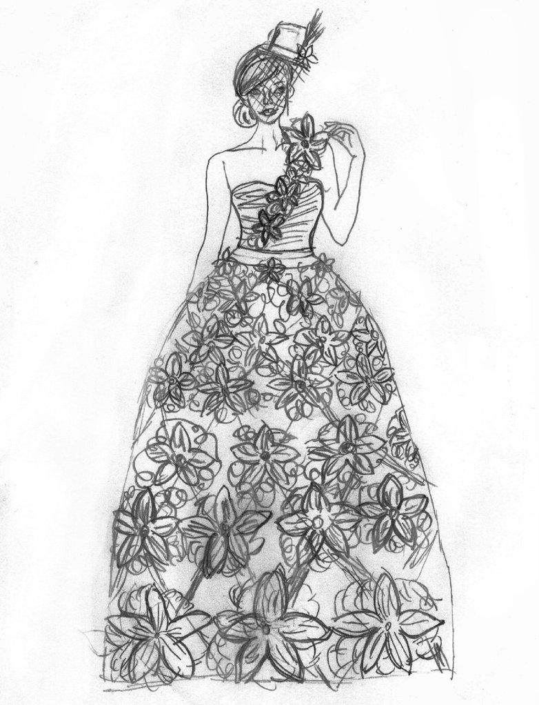 782x1022 Trashy Fashion Sketch Of Origami Flower Dress By Lovely Laceyann