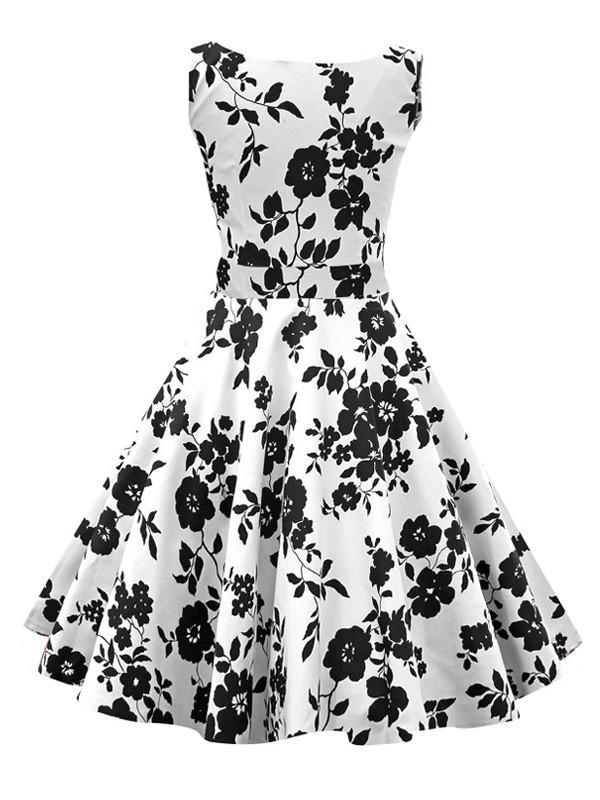 600x800 White Audrey Hepburn Inspired Dress 50s Flowers Printed Sleeveless