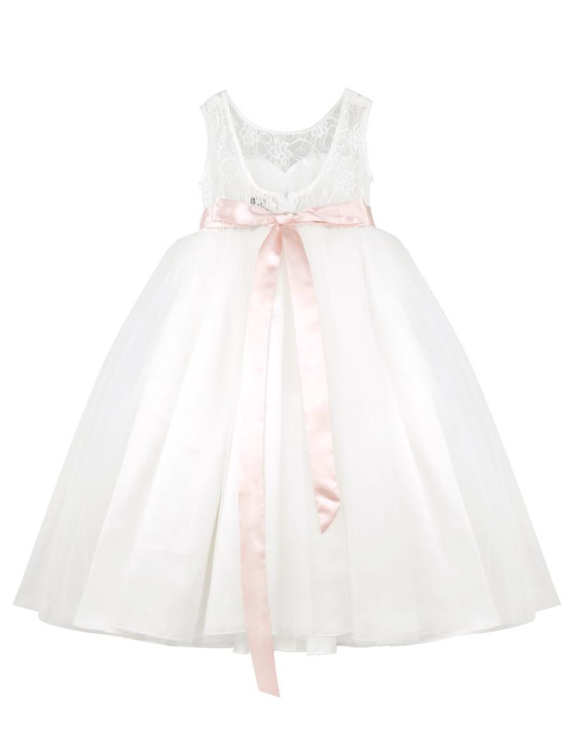 810x1051 Iefiel Lace White Flower Girl Dresses Back Hollow Heart Shape