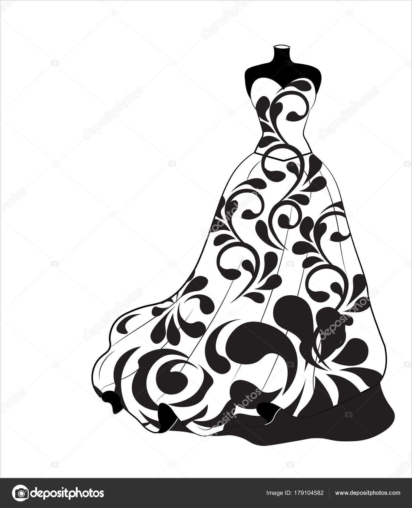 1380x1700 Wedding Flower Dress Stock Vector Lollitta