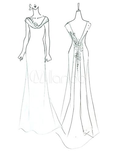 380x500 Beautiful Ivory A Line Cowl Neck Flower Satin Wedding Dress